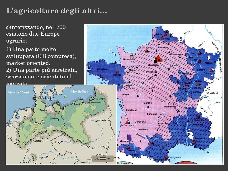 Sintetizzando, nel '700 esistono due Europe agrarie: 1) Una parte molto sviluppata (GB compresa), market oriented.