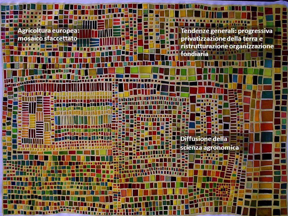 Agricoltura europea: mosaico sfaccettato Tendenze generali: progressiva privatizzazione della terra e ristrutturazione organizzazione fondiaria Diffusione della scienza agronomica