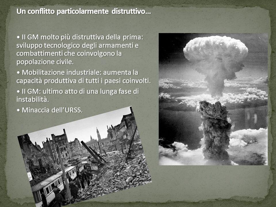 Un conflitto particolarmente distruttivo… II GM molto più distruttiva della prima: sviluppo tecnologico degli armamenti e combattimenti che coinvolgon