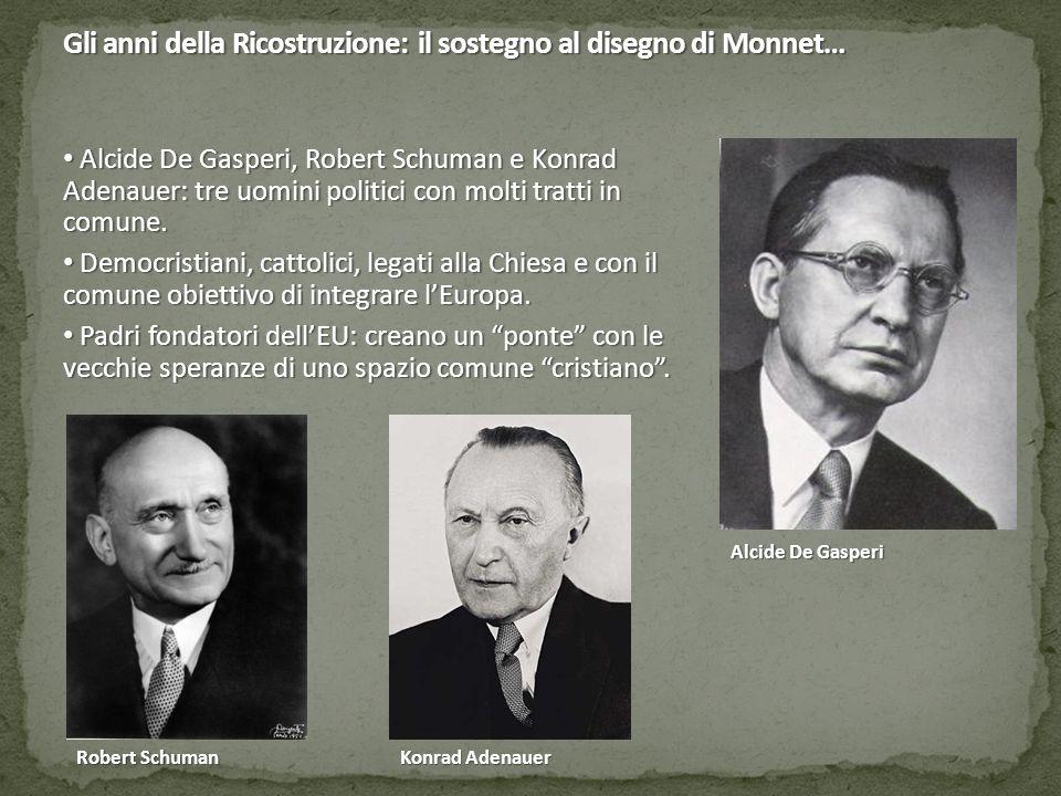 Gli anni della Ricostruzione: il sostegno al disegno di Monnet… Alcide De Gasperi, Robert Schuman e Konrad Adenauer: tre uomini politici con molti tra