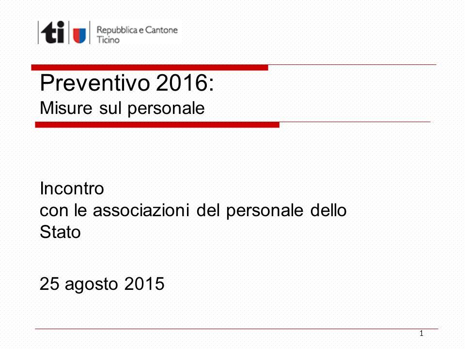 1 Preventivo 2016: Misure sul personale Incontro con le associazioni del personale dello Stato 25 agosto 2015