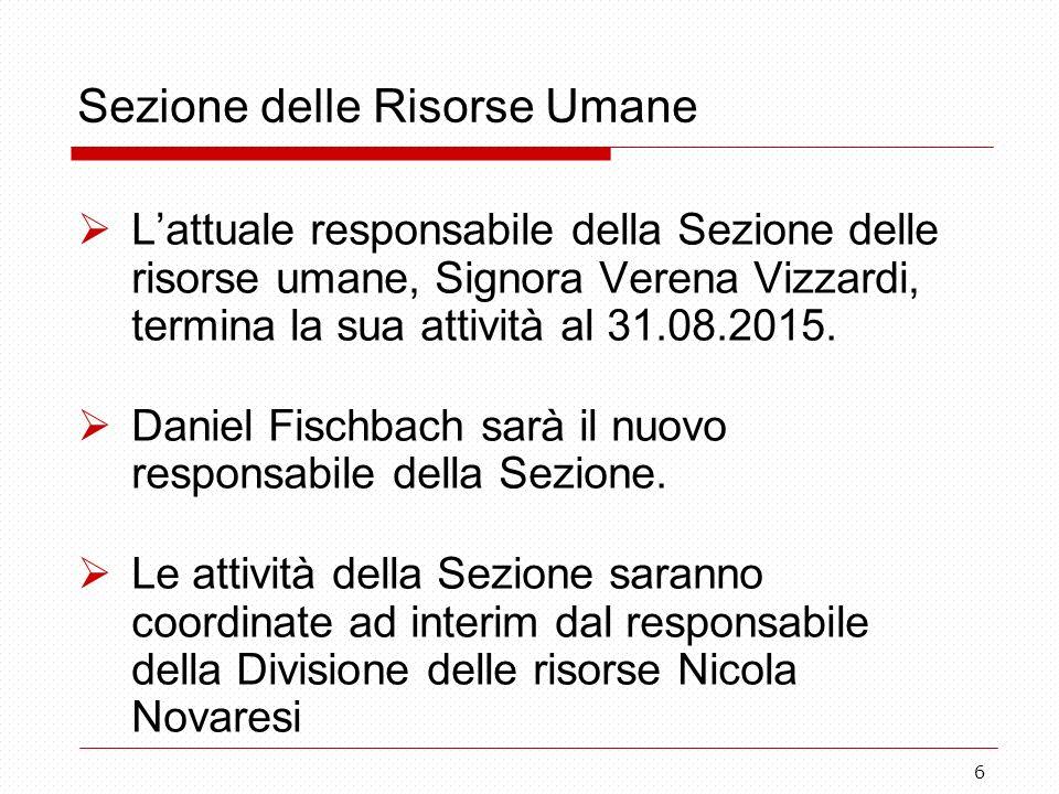 6 Sezione delle Risorse Umane  L'attuale responsabile della Sezione delle risorse umane, Signora Verena Vizzardi, termina la sua attività al 31.08.2015.