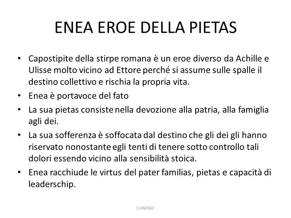 ENEA EROE DELLA PIETAS Capostipite della stirpe romana è un eroe diverso da Achille e Ulisse molto vicino ad Ettore perché si assume sulle spalle il d
