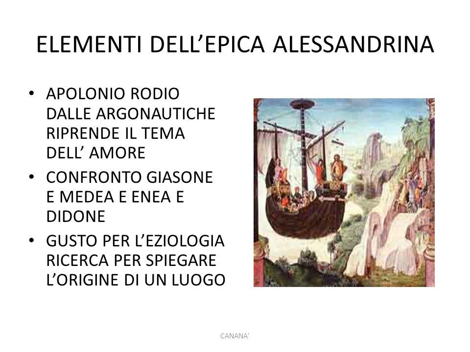 ELEMENTI DELL'EPICA ALESSANDRINA APOLONIO RODIO DALLE ARGONAUTICHE RIPRENDE IL TEMA DELL' AMORE CONFRONTO GIASONE E MEDEA E ENEA E DIDONE GUSTO PER L'