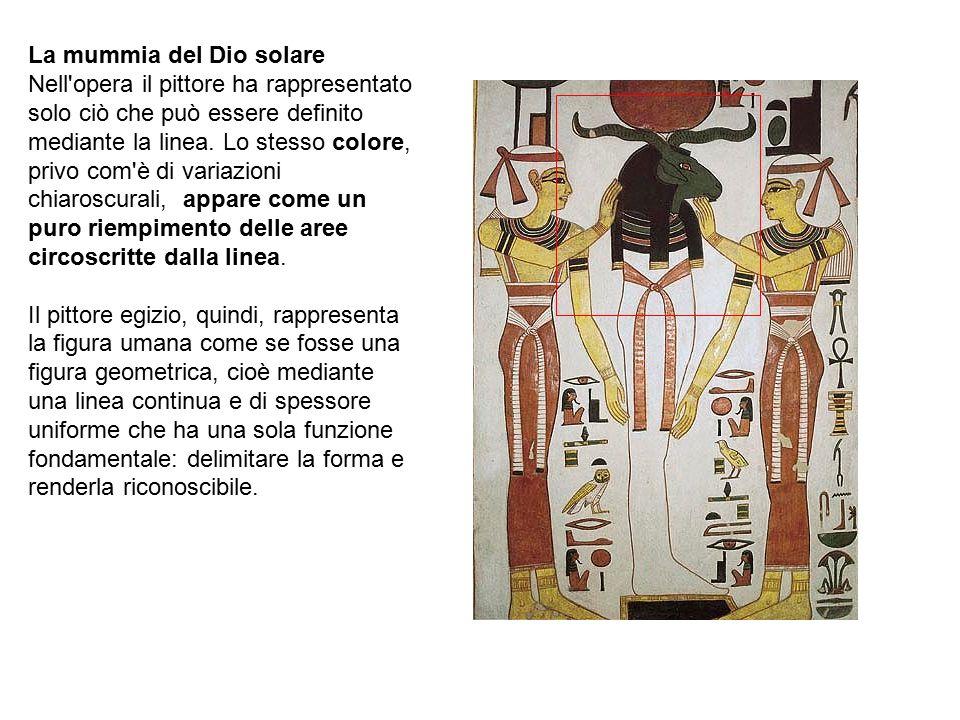 La mummia del Dio solare Nell'opera il pittore ha rappresentato solo ciò che può essere definito mediante la linea. Lo stesso colore, privo com'è di v