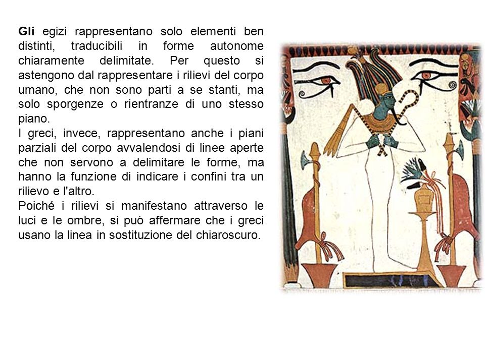 Gli egizi rappresentano solo elementi ben distinti, traducibili in forme autonome chiaramente delimitate. Per questo si astengono dal rappresentare i