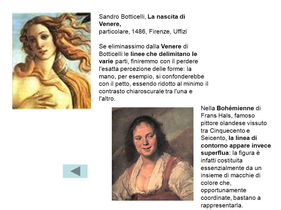 Sandro Botticelli, La nascita di Venere, particolare, 1486, Firenze, Uffizi Se eliminassimo dalla Venere di Botticelli le linee che delimitano le vari