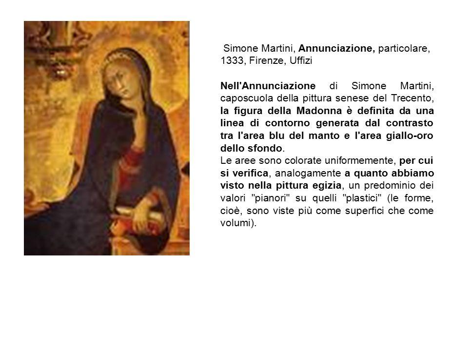 Simone Martini, Annunciazione, particolare, 1333, Firenze, Uffizi Nell'Annunciazione di Simone Martini, caposcuola della pittura senese del Trecento,