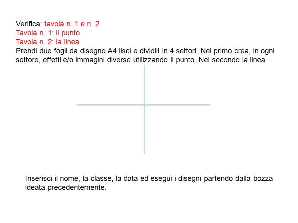 Verifica: tavola n. 1 e n. 2 Tavola n. 1: il punto Tavola n. 2: la linea Prendi due fogli da disegno A4 lisci e dividili in 4 settori. Nel primo crea,