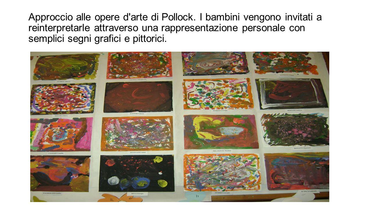 Approccio alle opere d'arte di Pollock. I bambini vengono invitati a reinterpretarle attraverso una rappresentazione personale con semplici segni graf