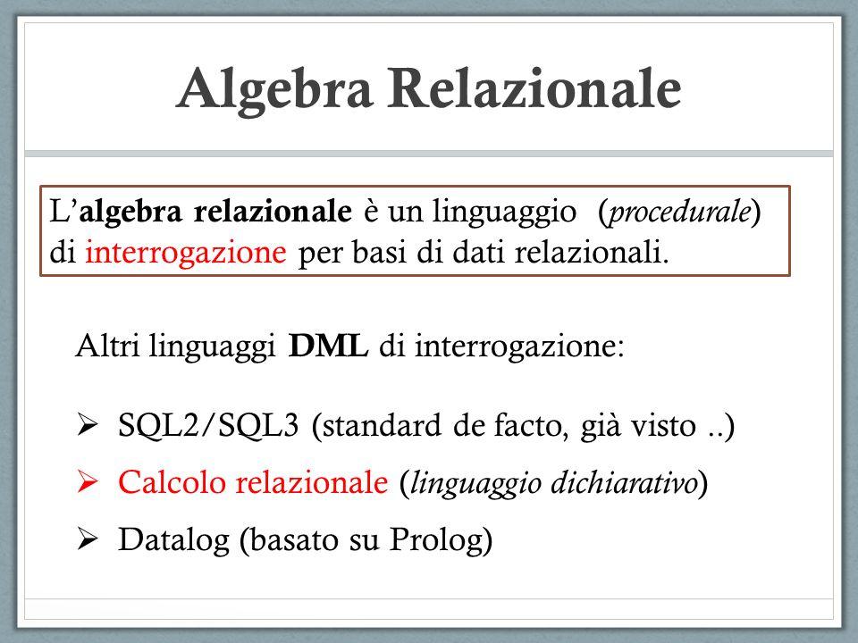 Algebra Relazionale Altri linguaggi DML di interrogazione:  SQL2/SQL3 (standard de facto, già visto..)  Calcolo relazionale ( linguaggio dichiarativo )  Datalog (basato su Prolog) L' algebra relazionale è un linguaggio ( procedurale ) di interrogazione per basi di dati relazionali.