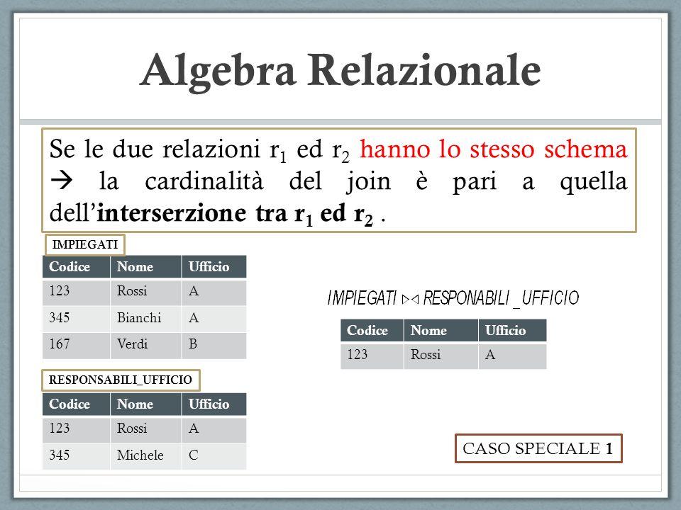 Algebra Relazionale Se le due relazioni r 1 ed r 2 hanno lo stesso schema  la cardinalità del join è pari a quella dell' interserzione tra r 1 ed r 2.