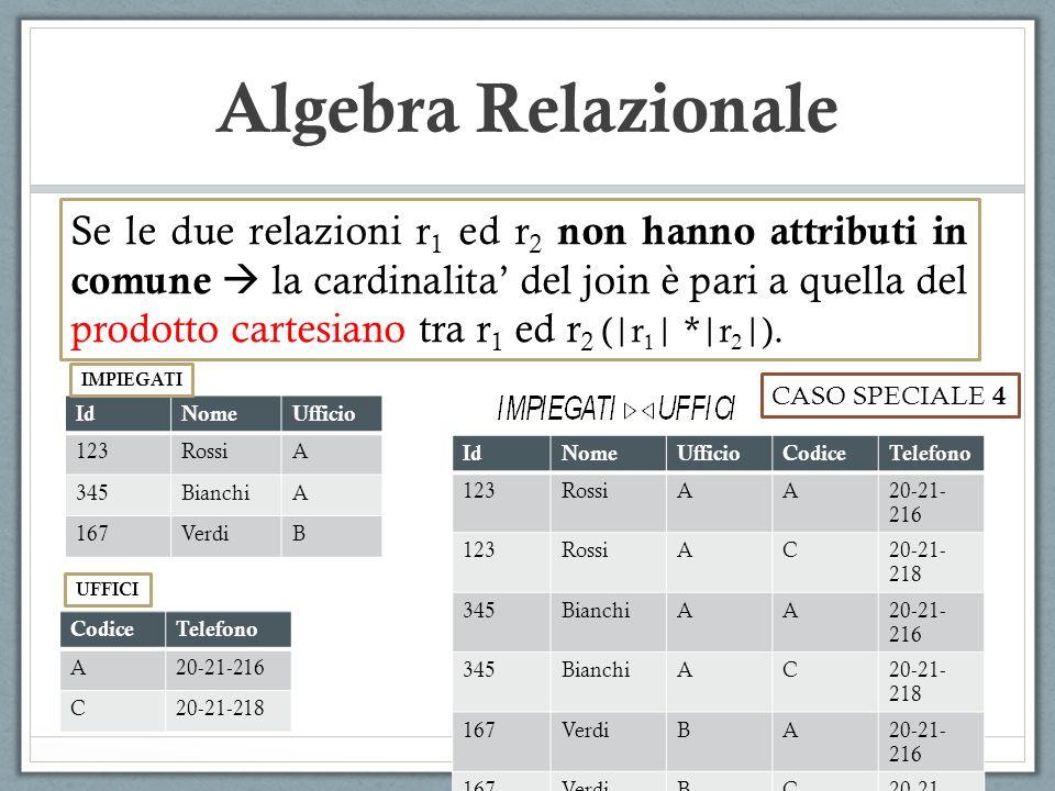 Algebra Relazionale Se le due relazioni r 1 ed r 2 non hanno attributi in comune  la cardinalita' del join è pari a quella del prodotto cartesiano tra r 1 ed r 2 ( r 1   * r 2  ).