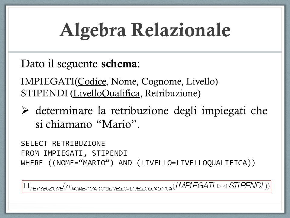 Algebra Relazionale Dato il seguente schema : IMPIEGATI(Codice, Nome, Cognome, Livello) STIPENDI (LivelloQualifica, Retribuzione)  determinare la retribuzione degli impiegati che si chiamano Mario .
