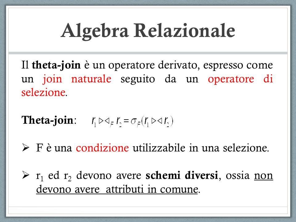 Algebra Relazionale Il theta-join è un operatore derivato, espresso come un join naturale seguito da un operatore di selezione.