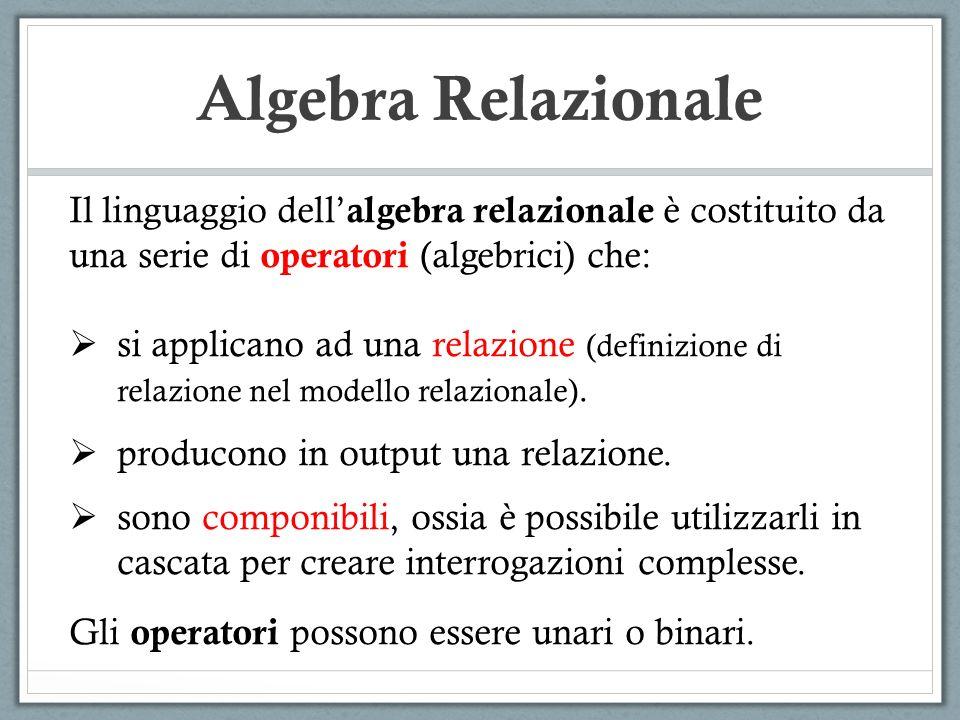 Algebra Relazionale Il linguaggio dell' algebra relazionale è costituito da una serie di operatori (algebrici) che:  si applicano ad una relazione (definizione di relazione nel modello relazionale).