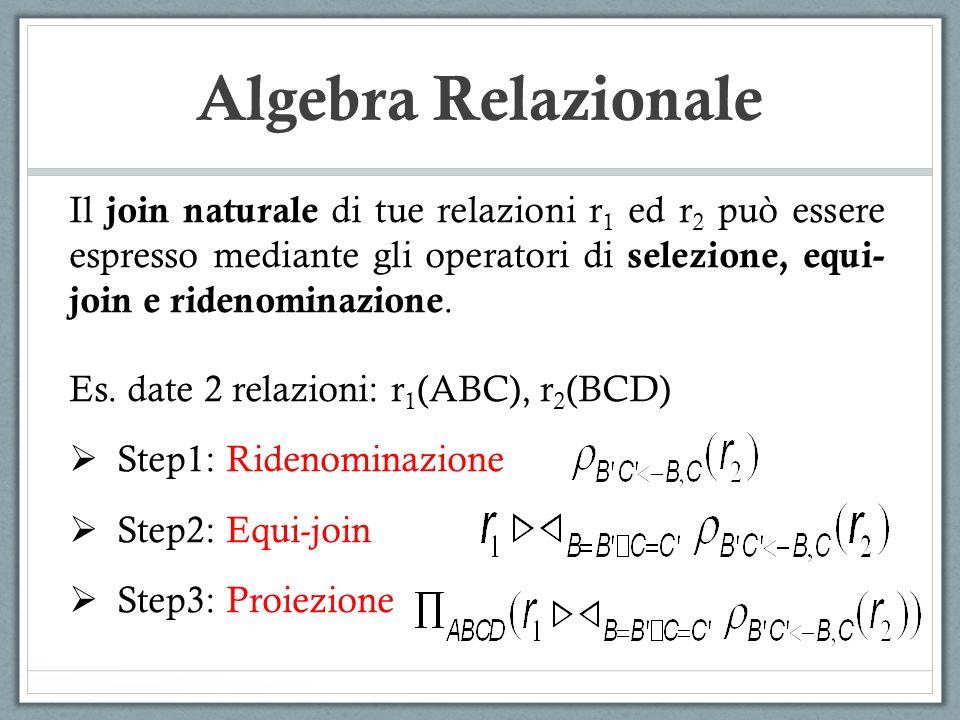 Algebra Relazionale Il join naturale di tue relazioni r 1 ed r 2 può essere espresso mediante gli operatori di selezione, equi- join e ridenominazione.