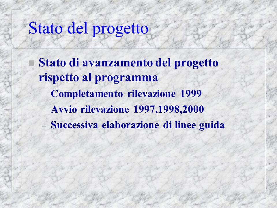 Stato del progetto n Stato di avanzamento del progetto rispetto al programma – Completamento rilevazione 1999 – Avvio rilevazione 1997,1998,2000 – Successiva elaborazione di linee guida