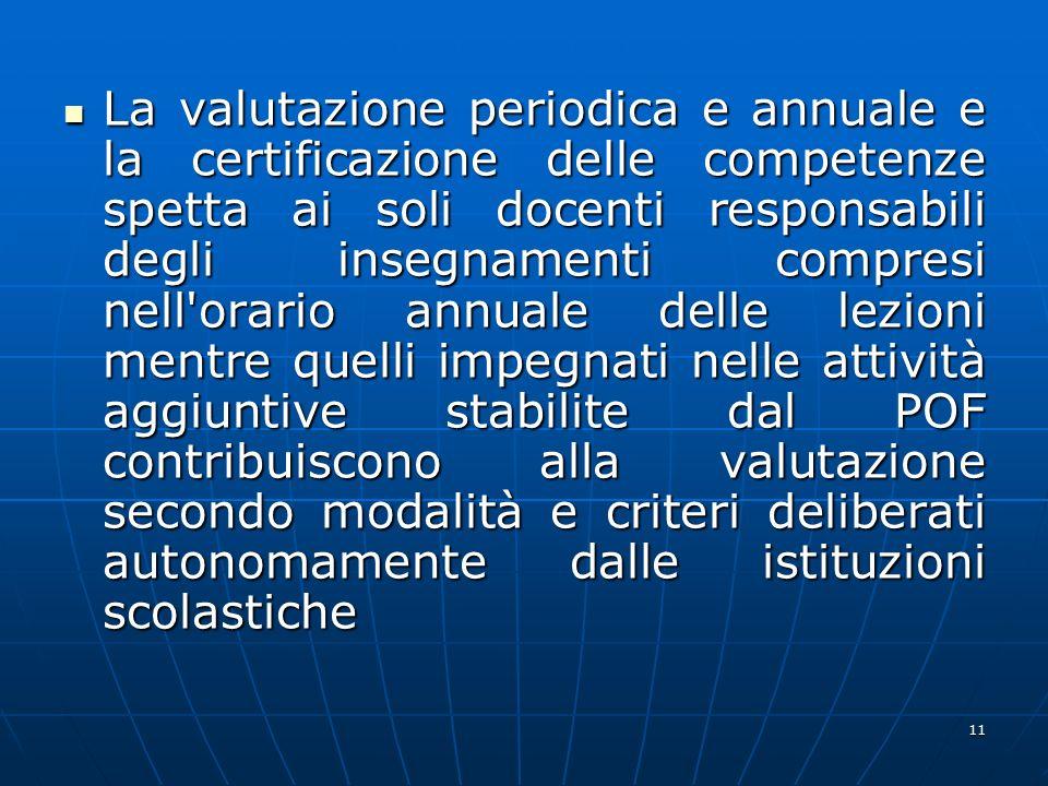 11 La valutazione periodica e annuale e la certificazione delle competenze spetta ai soli docenti responsabili degli insegnamenti compresi nell'orario