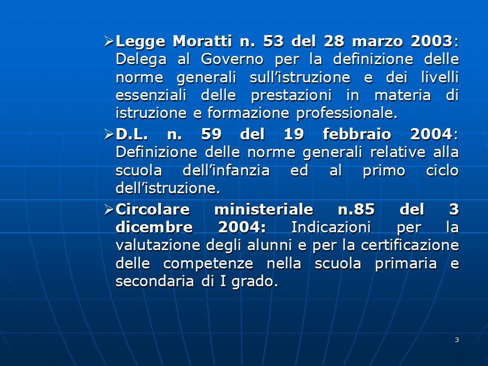 3  Legge Moratti n. 53 del 28 marzo 2003: Delega al Governo per la definizione delle norme generali sull ' istruzione e dei livelli essenziali delle