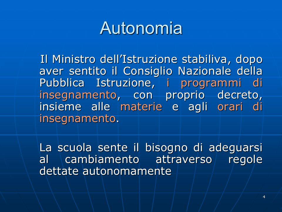 4 Autonomia Il Ministro dell'Istruzione stabiliva, dopo aver sentito il Consiglio Nazionale della Pubblica Istruzione, i programmi di insegnamento, co