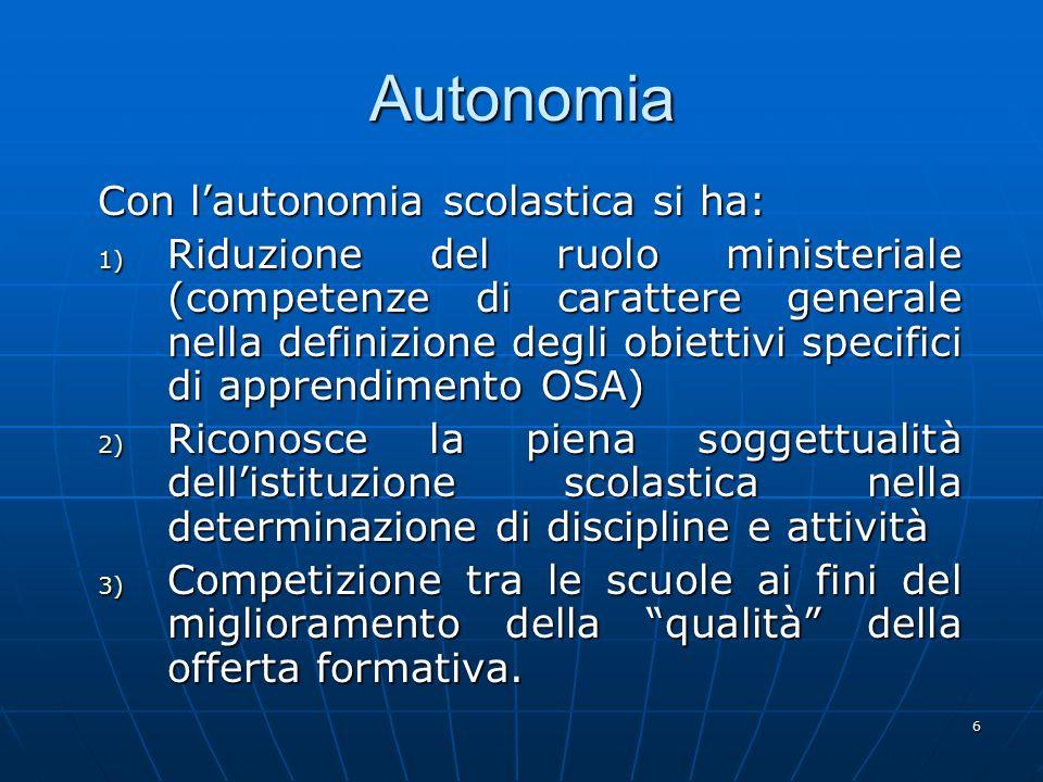 6 Autonomia Con l'autonomia scolastica si ha: 1) Riduzione del ruolo ministeriale (competenze di carattere generale nella definizione degli obiettivi