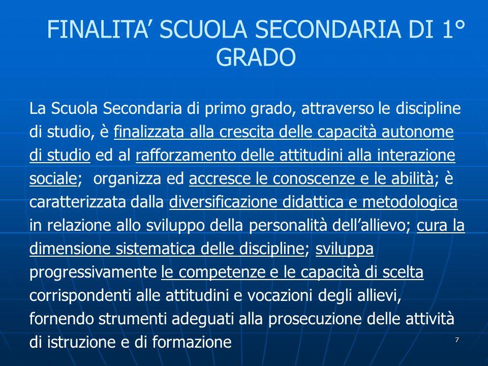7 FINALITA' SCUOLA SECONDARIA DI 1° GRADO La Scuola Secondaria di primo grado, attraverso le discipline di studio, è finalizzata alla crescita delle c