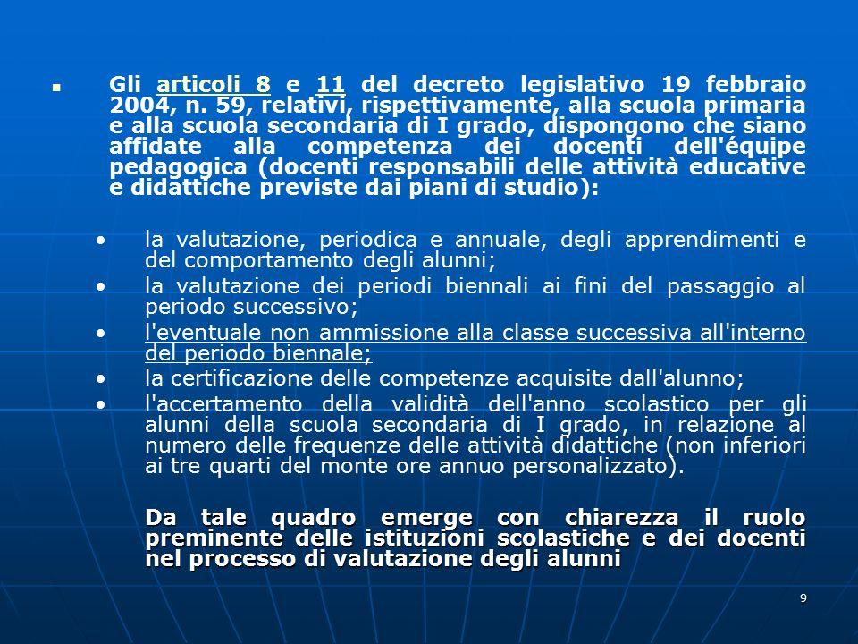 9 Gli articoli 8 e 11 del decreto legislativo 19 febbraio 2004, n. 59, relativi, rispettivamente, alla scuola primaria e alla scuola secondaria di I g