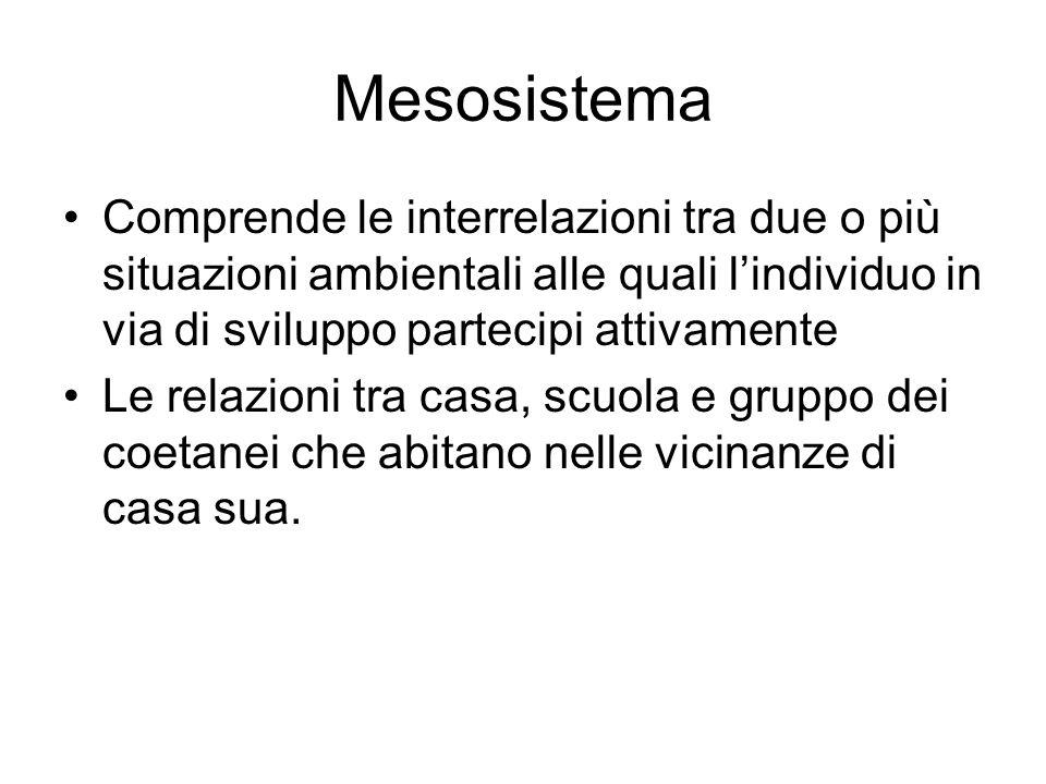Mesosistema Comprende le interrelazioni tra due o più situazioni ambientali alle quali l'individuo in via di sviluppo partecipi attivamente Le relazio