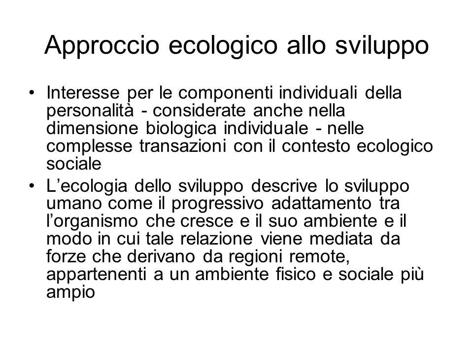 Approccio ecologico allo sviluppo Interesse per le componenti individuali della personalità - considerate anche nella dimensione biologica individuale