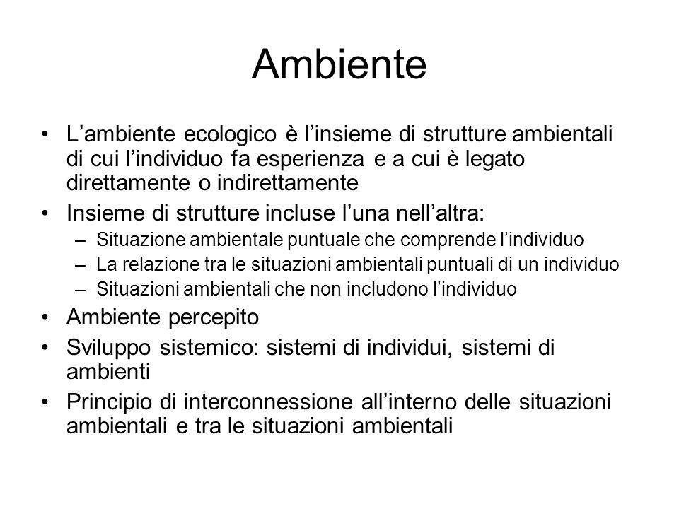 Ambiente L'ambiente ecologico è l'insieme di strutture ambientali di cui l'individuo fa esperienza e a cui è legato direttamente o indirettamente Insi