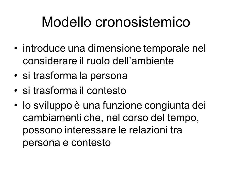 Modello cronosistemico introduce una dimensione temporale nel considerare il ruolo dell'ambiente si trasforma la persona si trasforma il contesto lo s