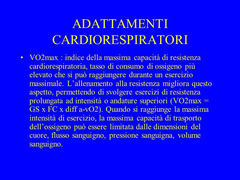 ADATTAMENTI CARDIORESPIRATORI VO2max : indice della massima capacità di resistenza cardiorespiratoria, tasso di consumo di ossigeno più elevato che si