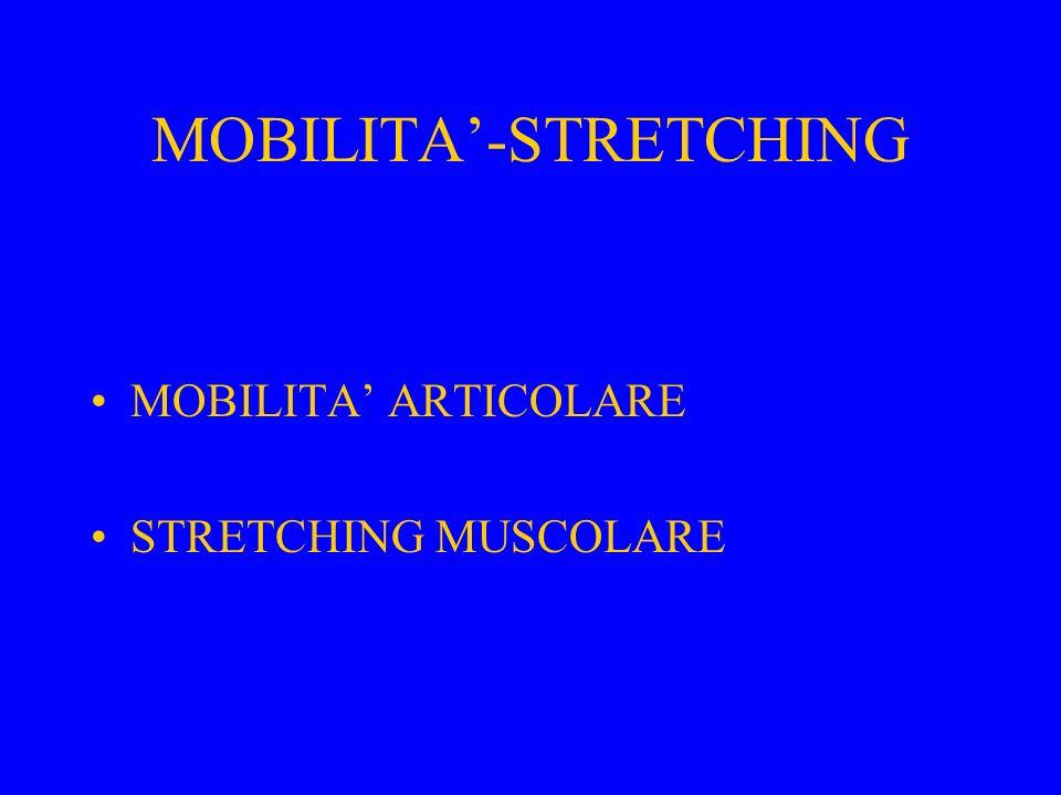 MOBILITA'-STRETCHING MOBILITA' ARTICOLARE STRETCHING MUSCOLARE