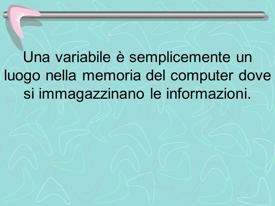 Una variabile è semplicemente un luogo nella memoria del computer dove si immagazzinano le informazioni.