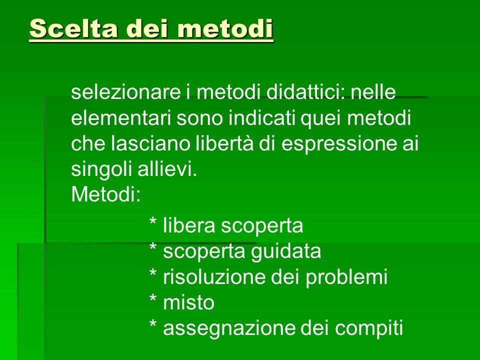 Scelta dei metodi selezionare i metodi didattici: nelle elementari sono indicati quei metodi che lasciano libertà di espressione ai singoli allievi. M