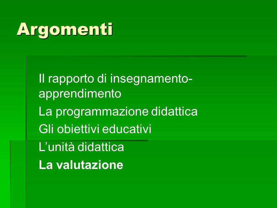 Argomenti Il rapporto di insegnamento- apprendimento La programmazione didattica Gli obiettivi educativi L'unità didattica La valutazione