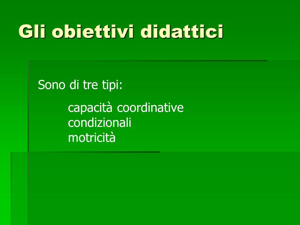 Gli obiettivi didattici Sono di tre tipi: capacità coordinative condizionali motricità