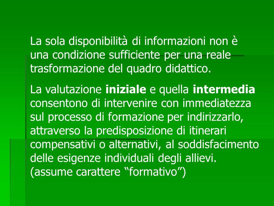 La sola disponibilità di informazioni non è una condizione sufficiente per una reale trasformazione del quadro didattico. La valutazione iniziale e qu