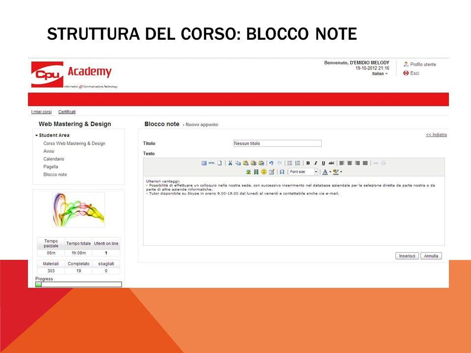STRUTTURA DEL CORSO: BLOCCO NOTE