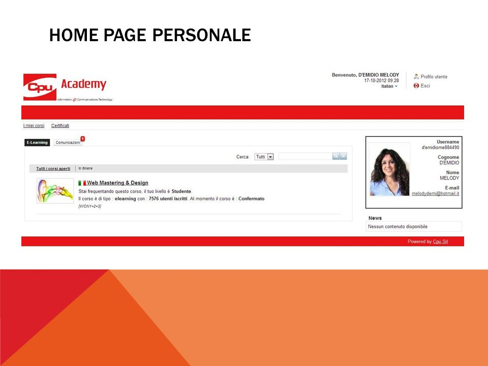 HOME PAGE PERSONALE