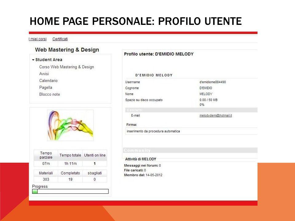 HOME PAGE PERSONALE: PROFILO UTENTE