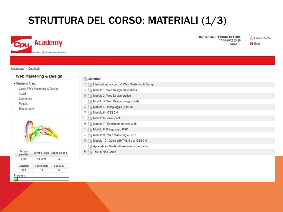 STRUTTURA DEL CORSO: MATERIALI (1/3)