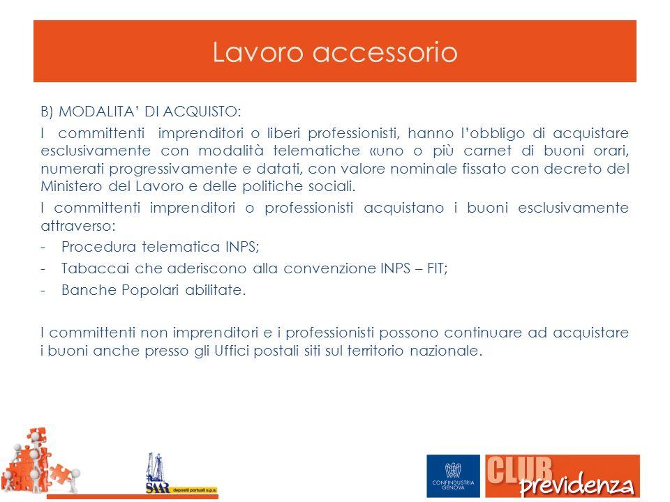 Lavoro accessorio B) MODALITA' DI ACQUISTO: I committenti imprenditori o liberi professionisti, hanno l'obbligo di acquistare esclusivamente con modal