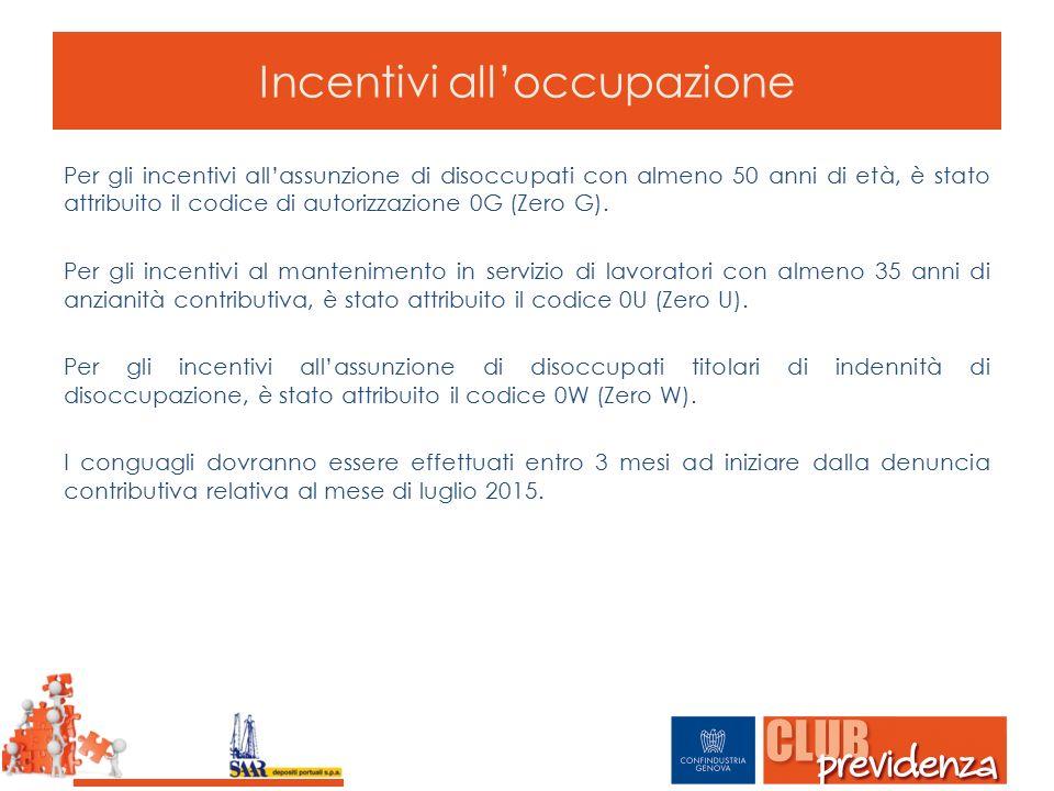 Incentivi all'occupazione Per gli incentivi all'assunzione di disoccupati con almeno 50 anni di età, è stato attribuito il codice di autorizzazione 0G