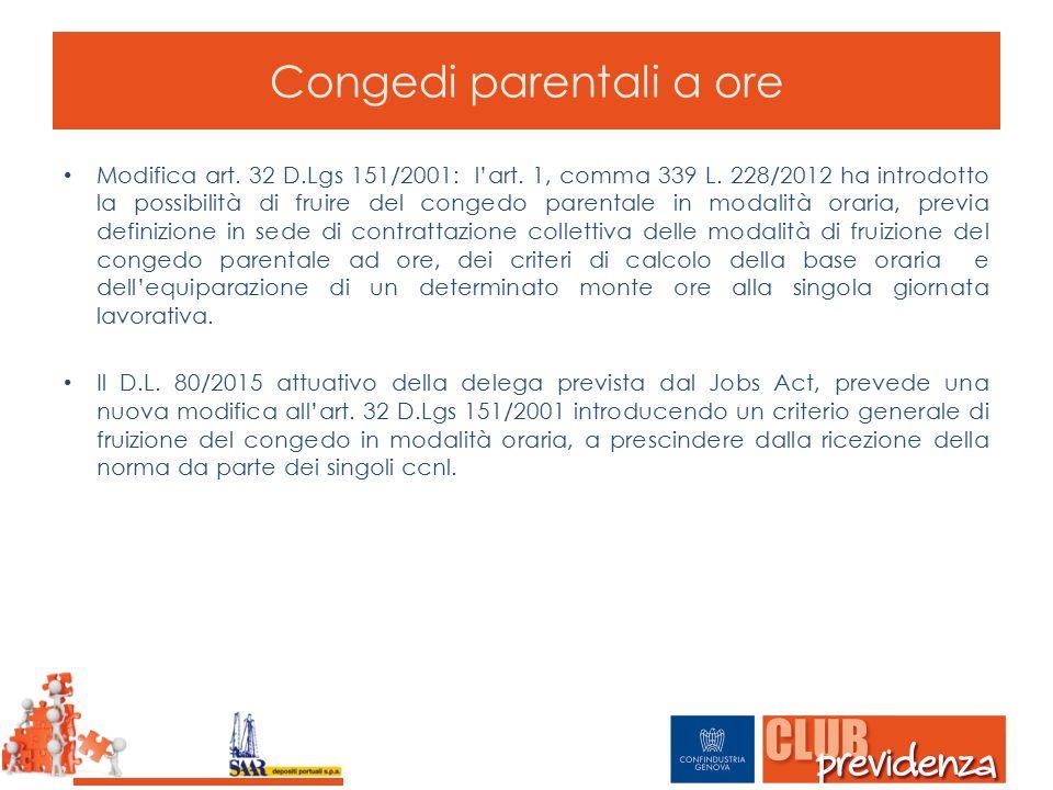 Modifica art. 32 D.Lgs 151/2001: l'art. 1, comma 339 L. 228/2012 ha introdotto la possibilità di fruire del congedo parentale in modalità oraria, prev