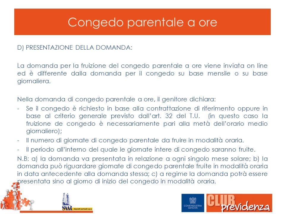 Congedo parentale a ore D) PRESENTAZIONE DELLA DOMANDA: La domanda per la fruizione del congedo parentale a ore viene inviata on line ed è differente