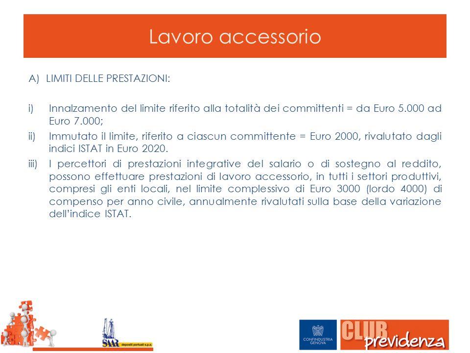 Lavoro accessorio A)LIMITI DELLE PRESTAZIONI: i)Innalzamento del limite riferito alla totalità dei committenti = da Euro 5.000 ad Euro 7.000; ii)Immut