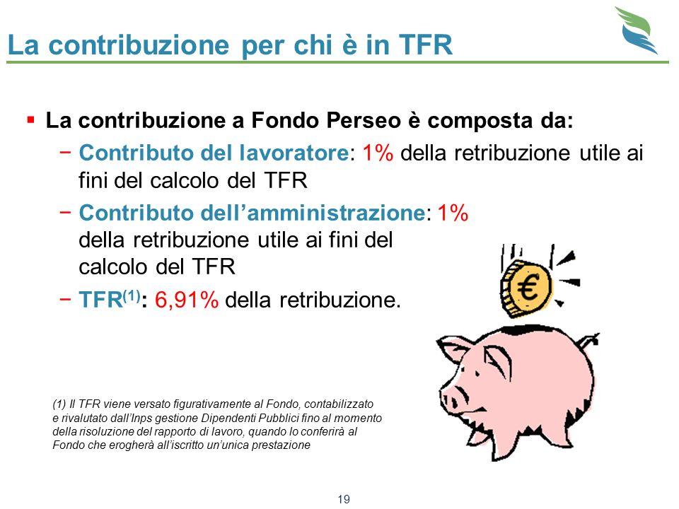 La contribuzione per chi è in TFR  La contribuzione a Fondo Perseo è composta da: −Contributo del lavoratore: 1% della retribuzione utile ai fini del