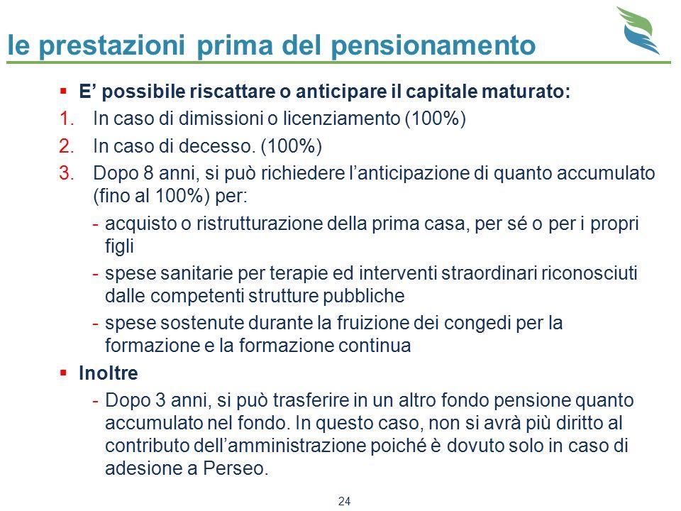 le prestazioni prima del pensionamento  E' possibile riscattare o anticipare il capitale maturato: 1.In caso di dimissioni o licenziamento (100%) 2.I